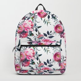 Modern pink gray hand painted watercolor floral pattern Backpack