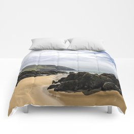 Peaceful sand and ocean Comforters