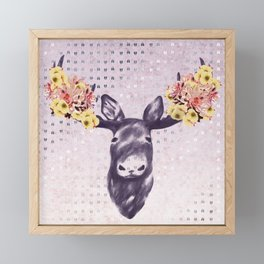 Flower Blossom Antlers Moose Head Framed Mini Art Print
