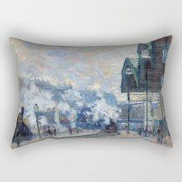 """Claude Monet """"La Gare Saint-Lazare, vue extérieure"""" Rectangular Pillow"""