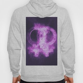 Female homosexuality symbol. Lesbian glyph. Doubled female sign. Abstract night sky background Hoody