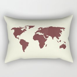 World Map -  Crimson Red on Cream Linen Rectangular Pillow