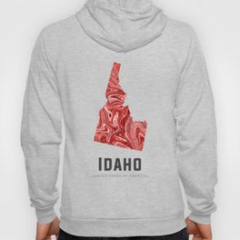 Idaho - State Map Art - Abstract Map - Red Hoody