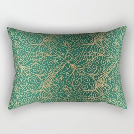 Gold and Green Tangle Pattern Rectangular Pillow