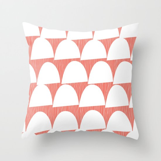 Shroom reverse coral Throw Pillow