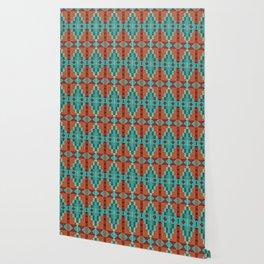 Orange Red Aqua Turquoise Teal Native Mosaic Pattern Wallpaper