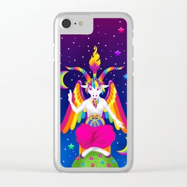 1997 Neon Rainbow Baphomet Clear iPhone Case