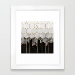 Charcoal Hexagons Framed Art Print