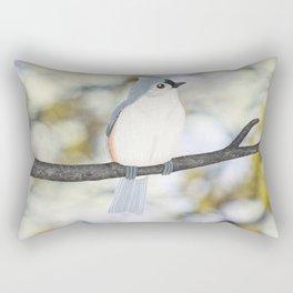 tufted titmouse - bokeh Rectangular Pillow