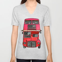 The big red bus. (Painting) Unisex V-Neck