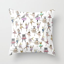 Animal Square Dance Throw Pillow