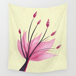 Pink Abstract Water Lily Flower Wall Tapestry