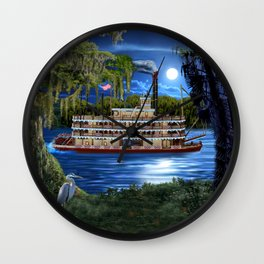 Mystcal Moonlight Cruise Down the Bayou Wall Clock
