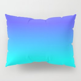 Neon Blue and Bright Neon Aqua Ombré Shade Color Fade Pillow Sham