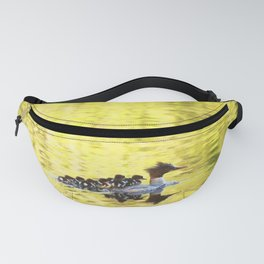Bird's Family Happiness - Lake Reflection - Summer Scene Fanny Pack