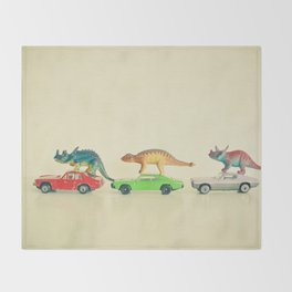 Dinosaurs Ride Cars Throw Blanket