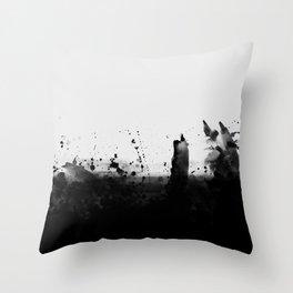 Abstract Watercolor Prints Black White Wall Art Minimalist Brushstrokes Circle Splatter Minimal Boho Throw Pillow