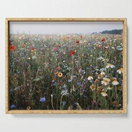 Dreamy wildflowerfield | photo print of a field full of wildflowers Serving Tray