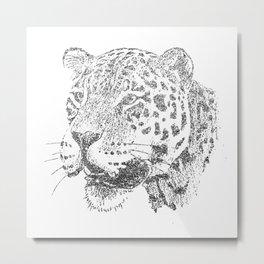 Silver Jaguar Metal Print