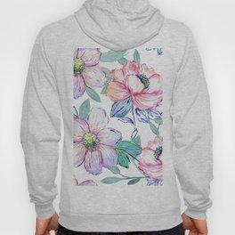 Romantic watercolor flowers hand paint design Hoody