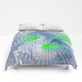 blue and green fractalart Comforters