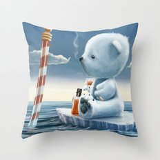 Derek The Depressed Bear Throw Pillow
