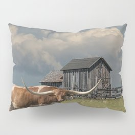 Longhorn Steer in a Prairie pasture by 1880 Town with Windmill and Old Gray Wooden Barn Pillow Sham