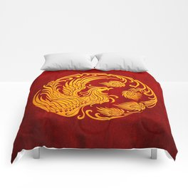 Traditional Yellow and Red Chinese Phoenix Circle Comforters