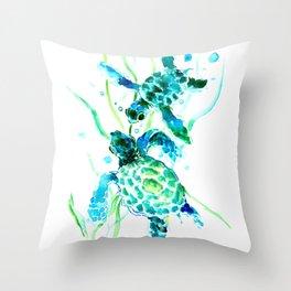 Sea Turtles, Turquoise blue Design Throw Pillow