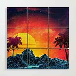 Sunset Vaporwave landscape with rocks and palms Wood Wall Art