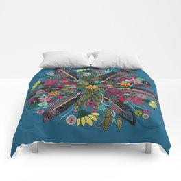 bohemian posy blue Comforters