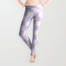Large Chalky Pale Lilac Pastel Color and White Checkerboard Leggings