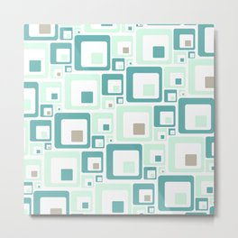Retro Squares Mid Century Modern Background Metal Print