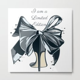 Fashion illustration with high heel shoe and bow. I am limited edition Metal Print