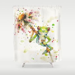 Hello There Bright Eyes (Green Tree Frog) Shower Curtain