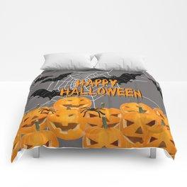 Pumpkins Happy Halloween Illustration Comforters