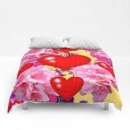 Red Hearts Art & Pink Floral Purple Patterns Comforters