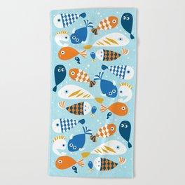 Fish Crowd Beach Towel