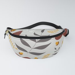 Autumn leaves and acorns - grey, brown and ochre Fanny Pack