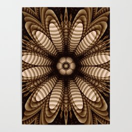 Abstract flower mandala with geometric texture Poster