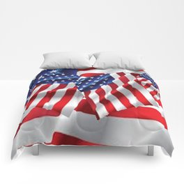 Patriotic American Flag Abstract Art Comforters