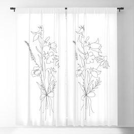 Small Wildflowers Minimalist Line Art Blackout Curtain