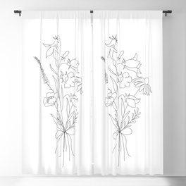 Small Wildflowers Minimalist Line Art Blackout Curtain