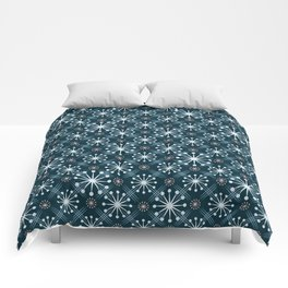 Starburst and Lines Mid Century Blue Comforters
