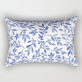 Leaves and Berries | Blue Palette Rectangular Pillow