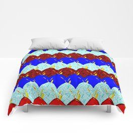 Red White and Blue Scales Comforters