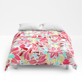 Girly coral pink hand drawn flowers Comforters