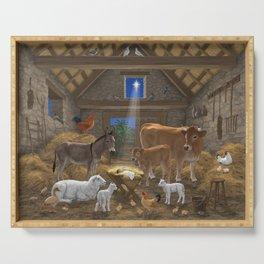 Baby Jesus Divine Manger Holy Night Christmas Nativity Scene Barnyard Farm Animals Serving Tray
