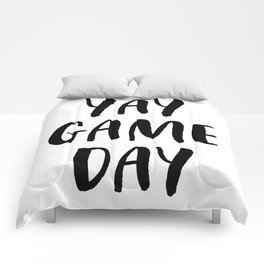 Yay Game Day Football Sports Black Text Comforters