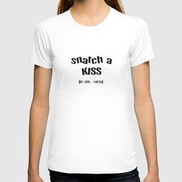 Snatch A Kiss Black Text T-shirt